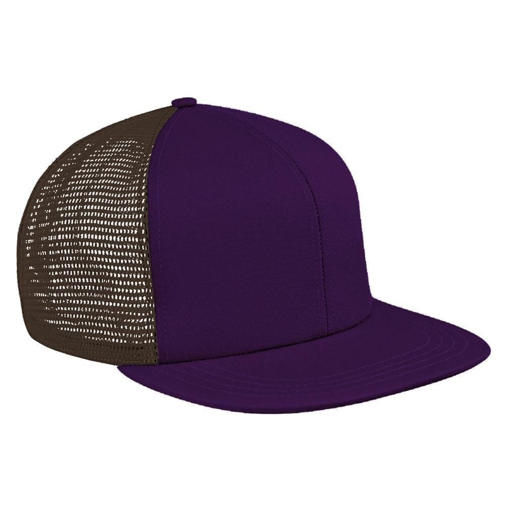 Purple-Black Brushed Front Snapback Flat Brim