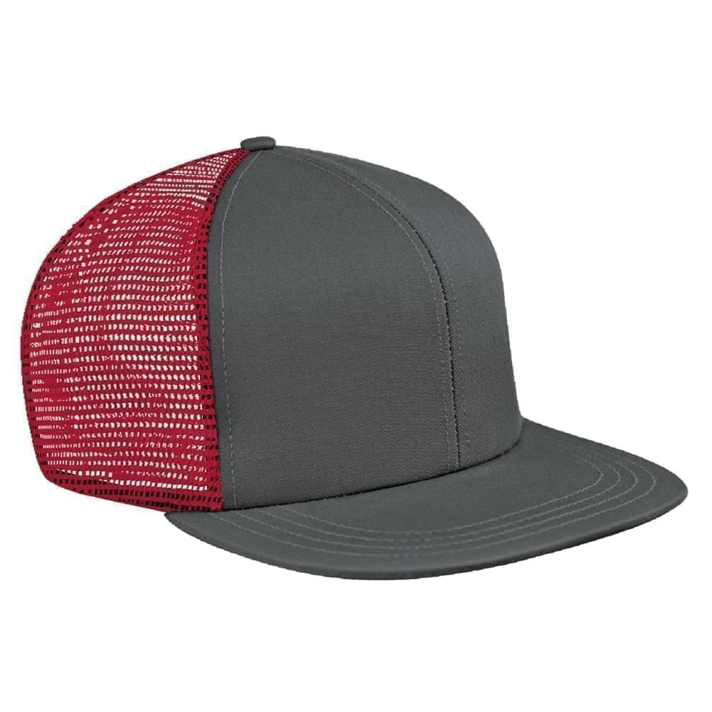 Light Gray-Red Brushed Front Snapback Flat Brim