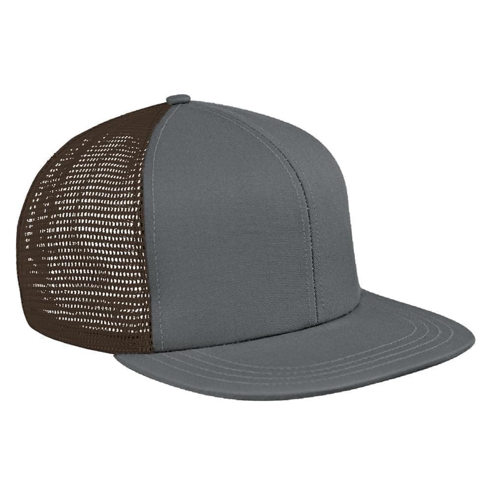 Light Gray-Black Brushed Front Snapback Flat Brim