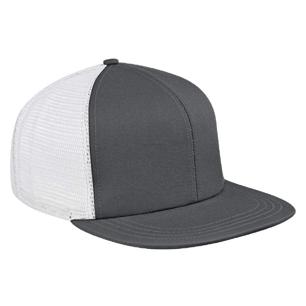 Light Gray-White Brushed Front Snapback Flat Brim