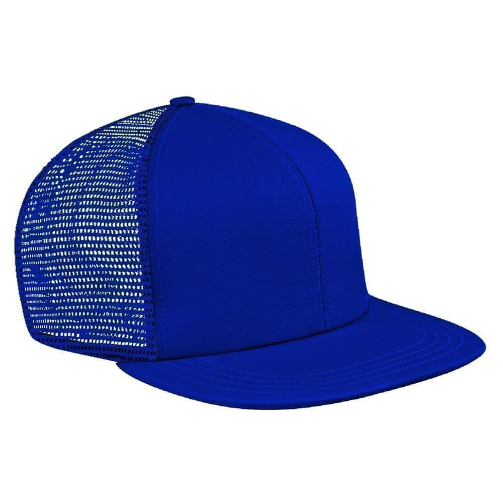 Royal Blue Brushed Front Slide Buckle Flat Brim