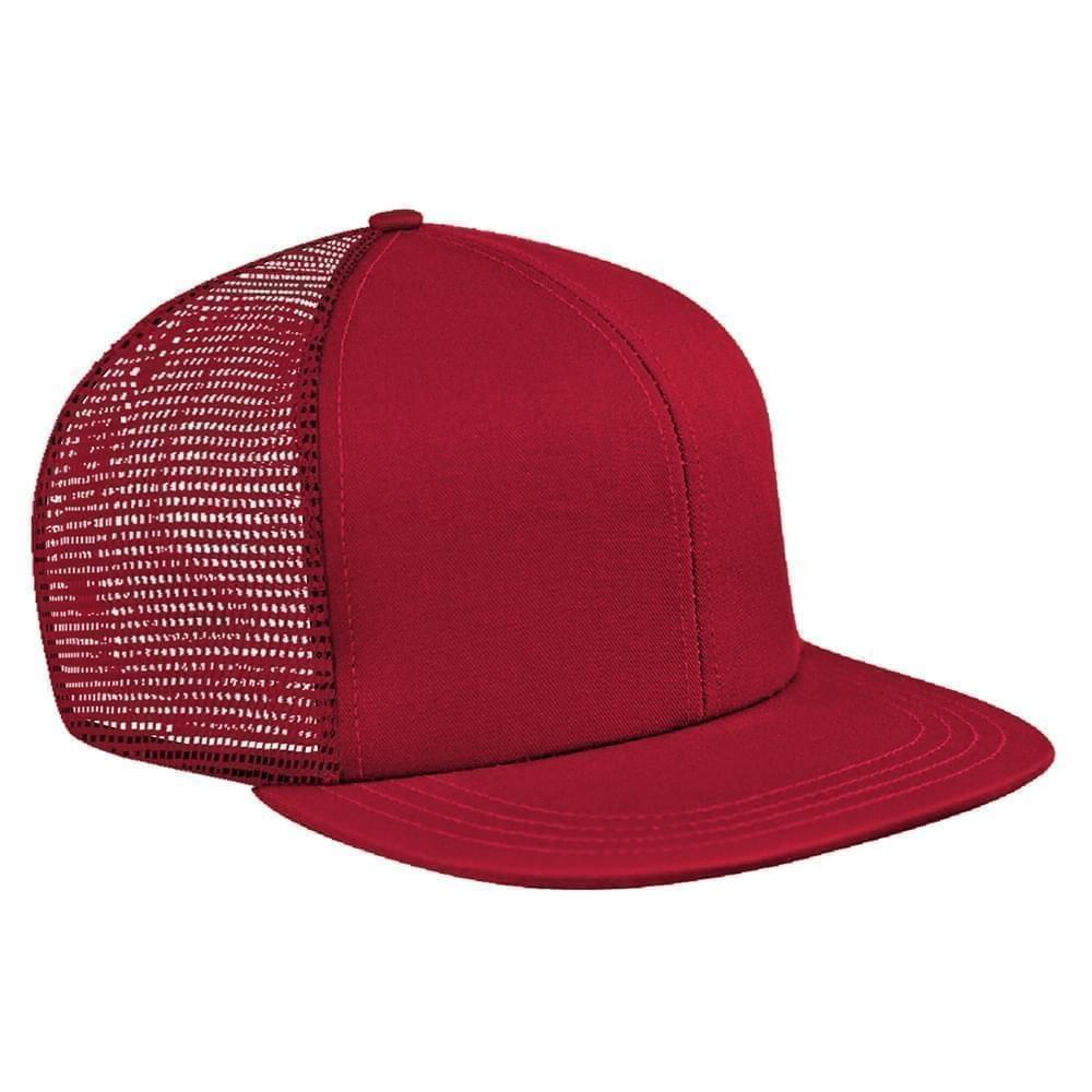 Red Brushed Front Snapback Flat Brim