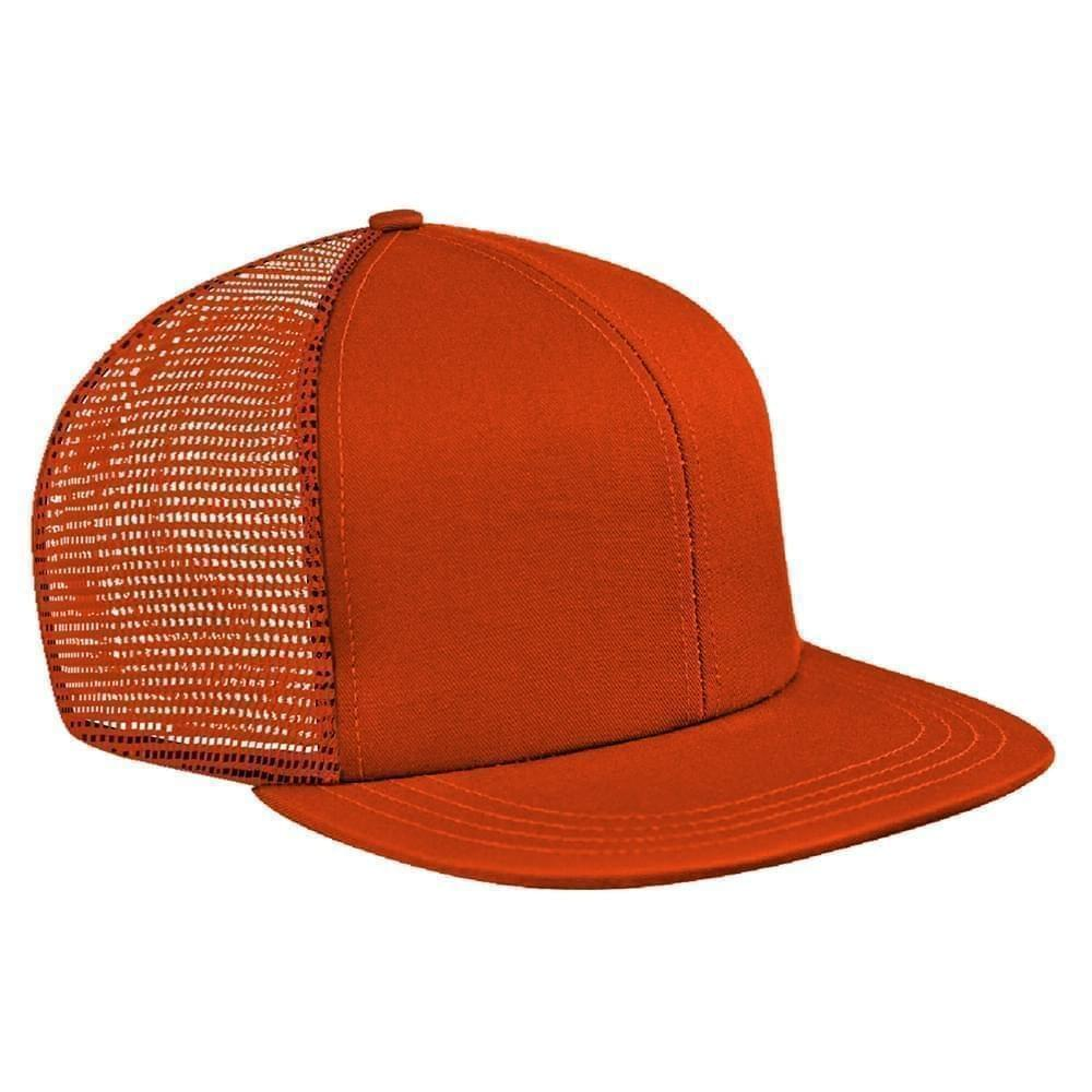Orange Brushed Front Snapback Flat Brim