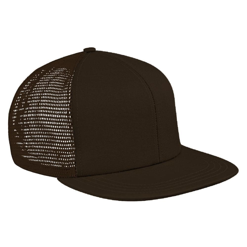 Black Brushed Front Slide Buckle Flat Brim