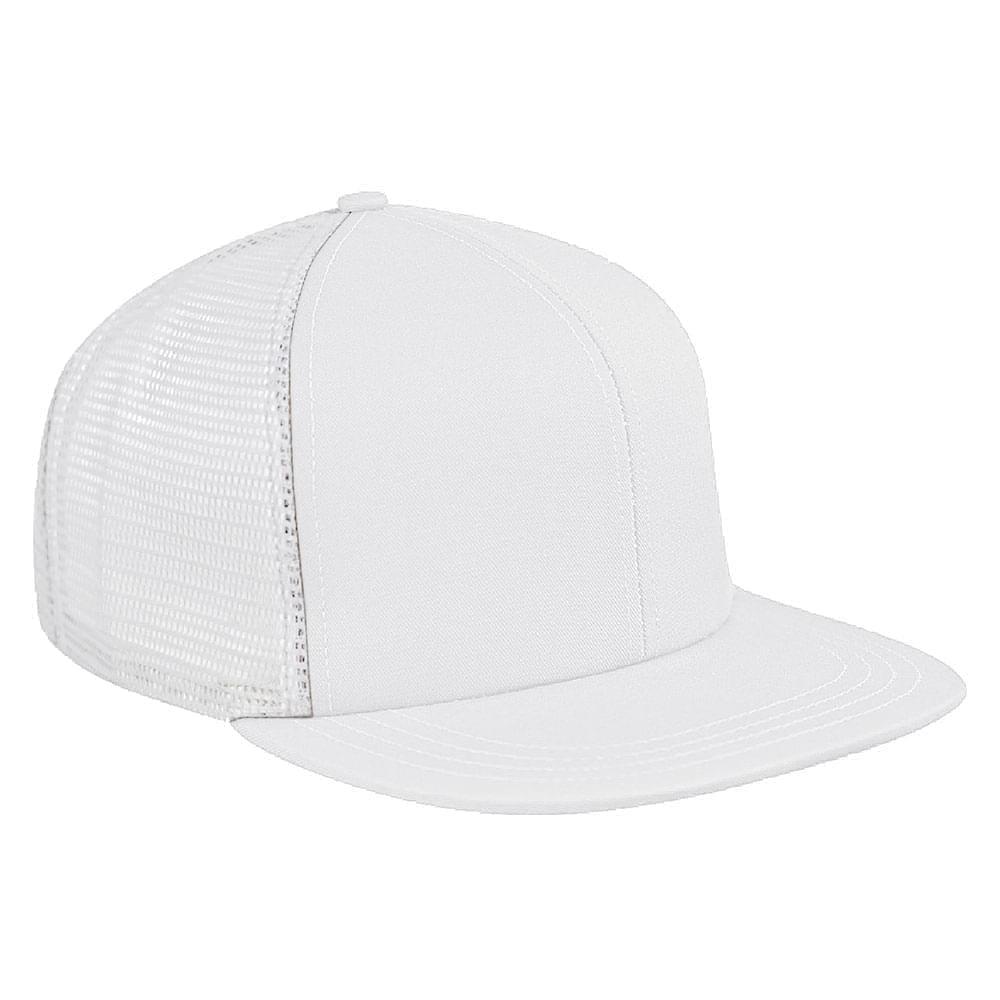 White Brushed Front Snapback Flat Brim