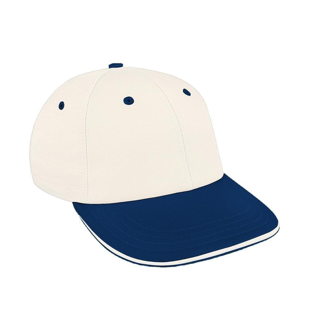 White-Navy Canvas Snapback Lowstyle
