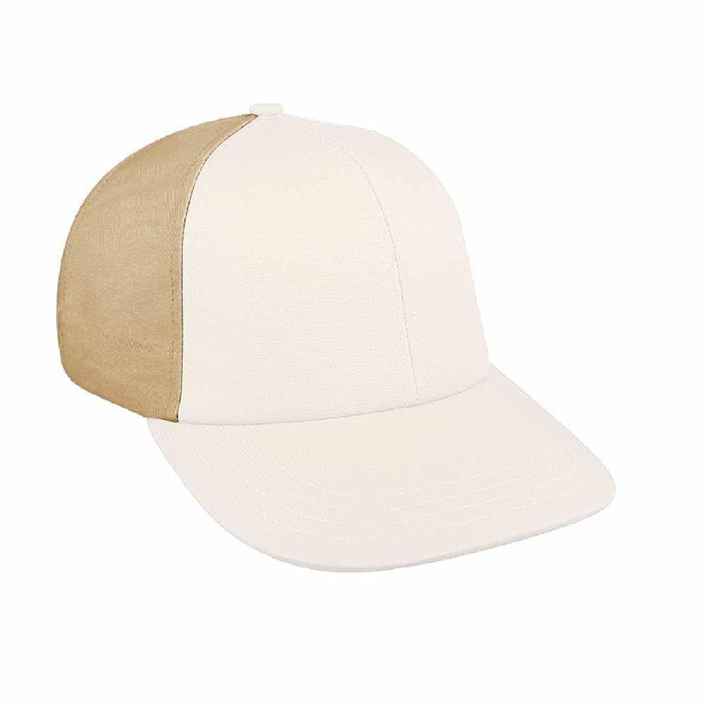 White-Khaki Canvas Snapback Lowstyle