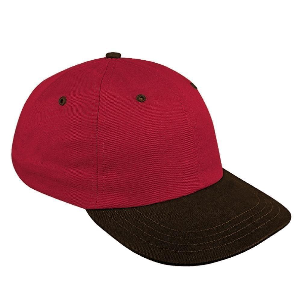 Red-Black Canvas Leather Dad Cap