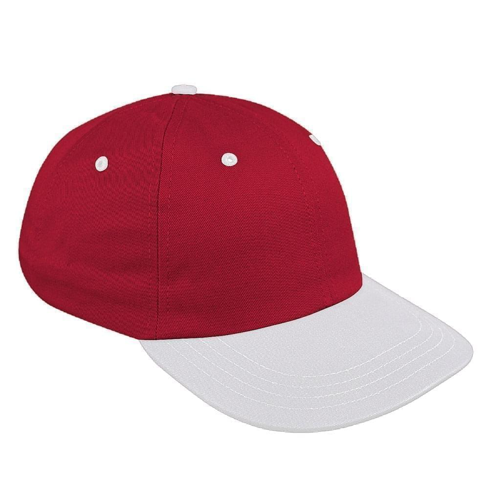 Red-White Canvas Leather Dad Cap