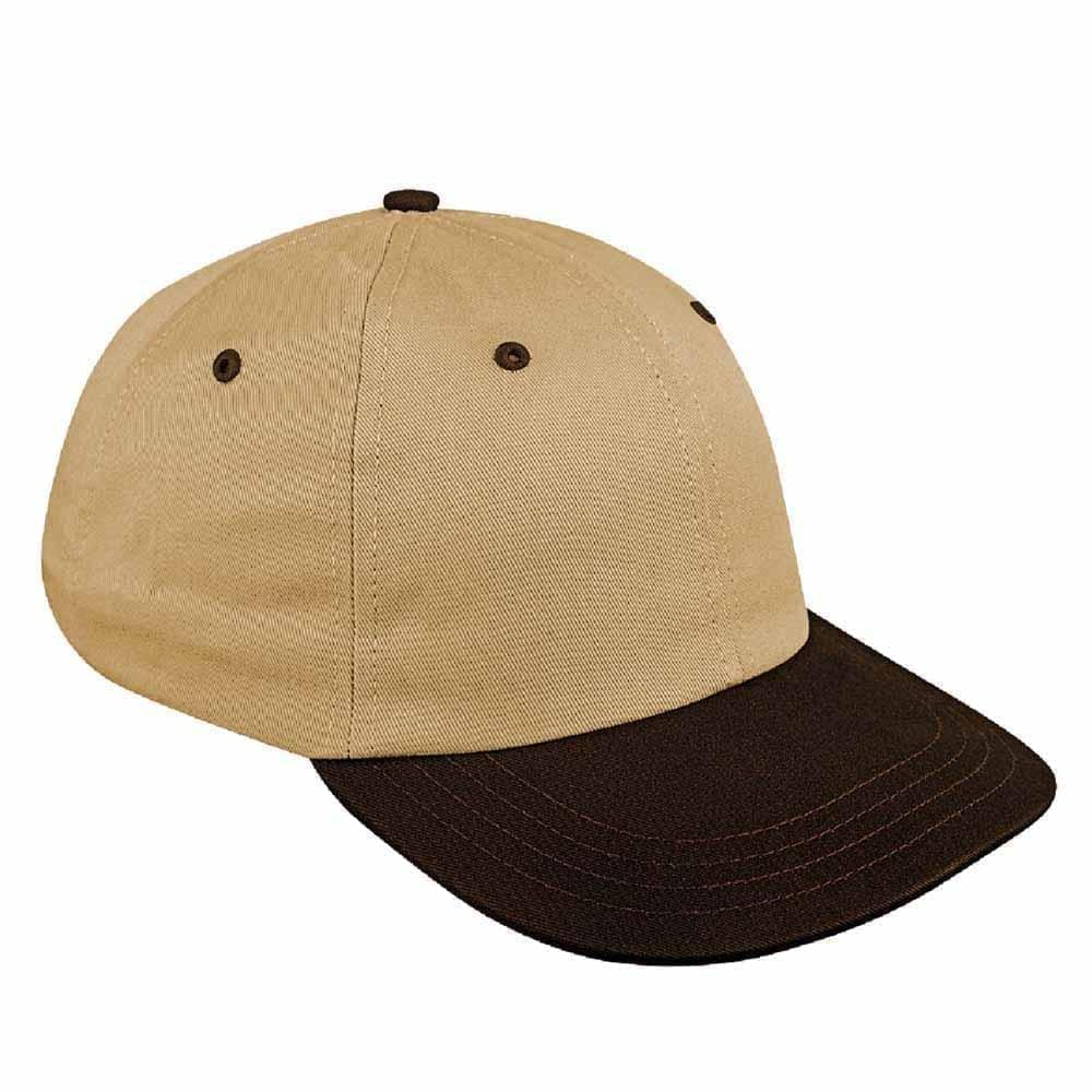 Khaki-Black Canvas Self Strap Dad Cap