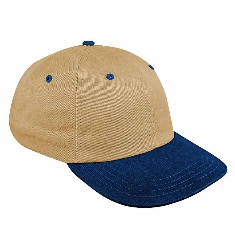 Khaki-Navy Canvas Leather Dad Cap