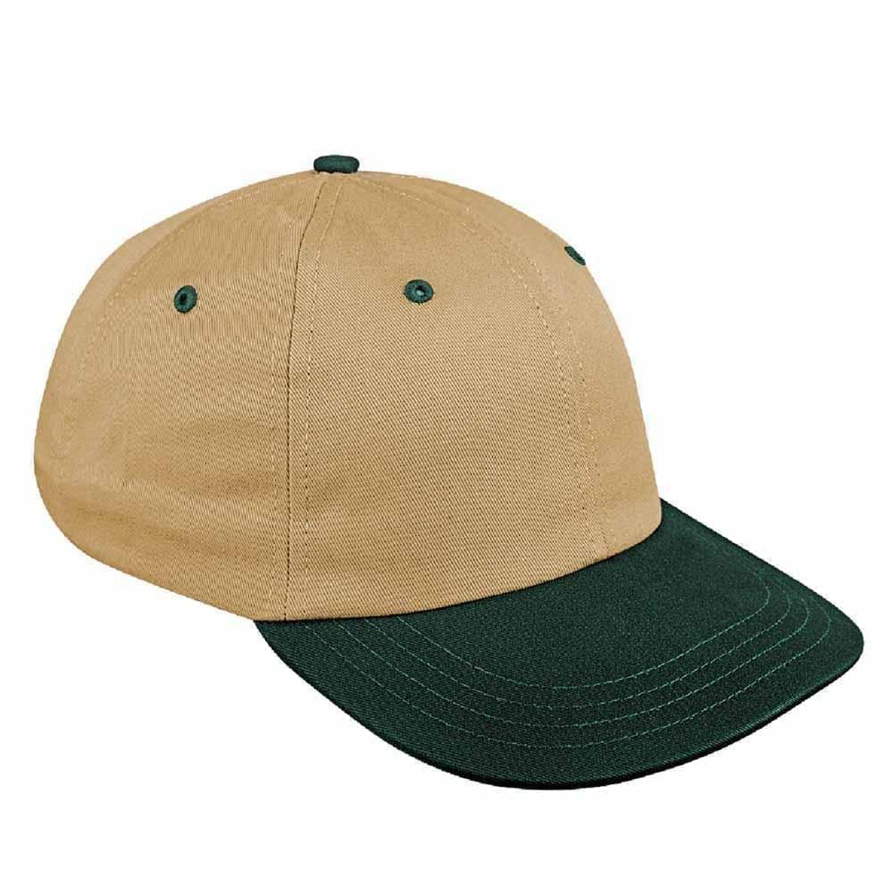 Khaki-Hunter Green Canvas Leather Dad Cap