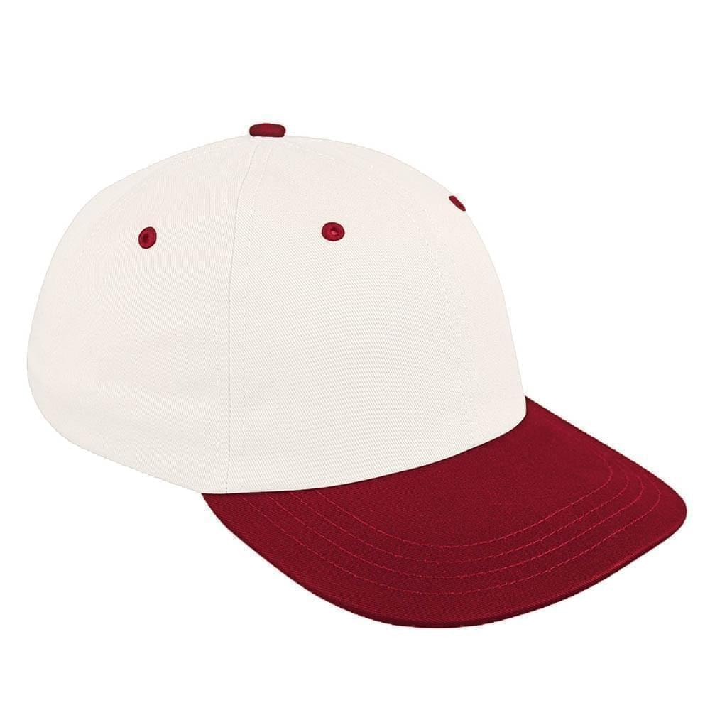 White-Red Canvas Snapback Dad Cap