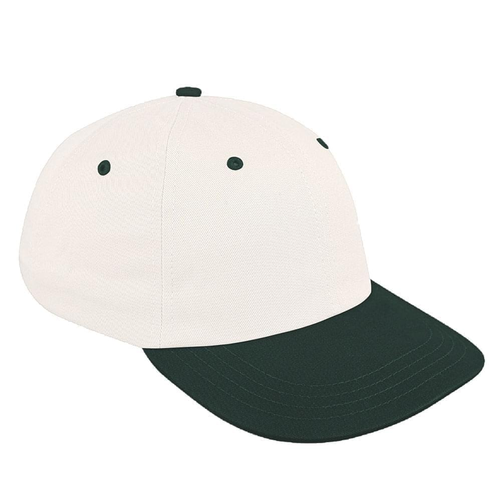 White-Hunter Green Canvas Snapback Dad Cap