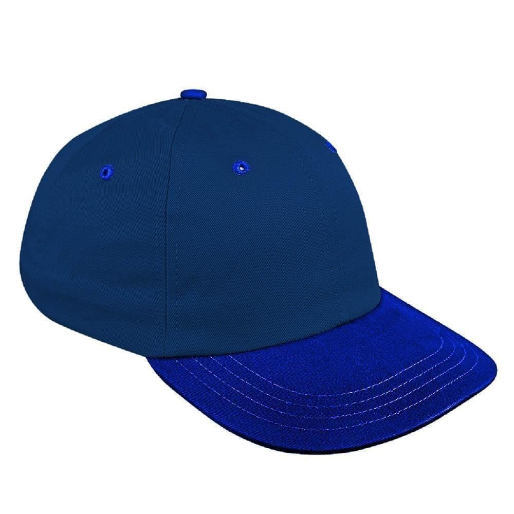 Navy-Royal Blue Canvas Leather Dad Cap