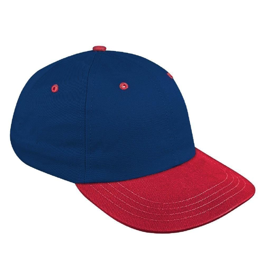 Navy-Red Canvas Leather Dad Cap