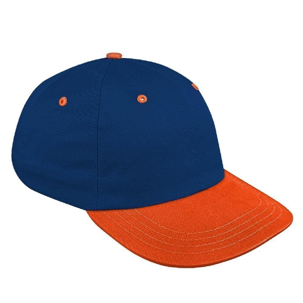 Navy-Orange Canvas Leather Dad Cap