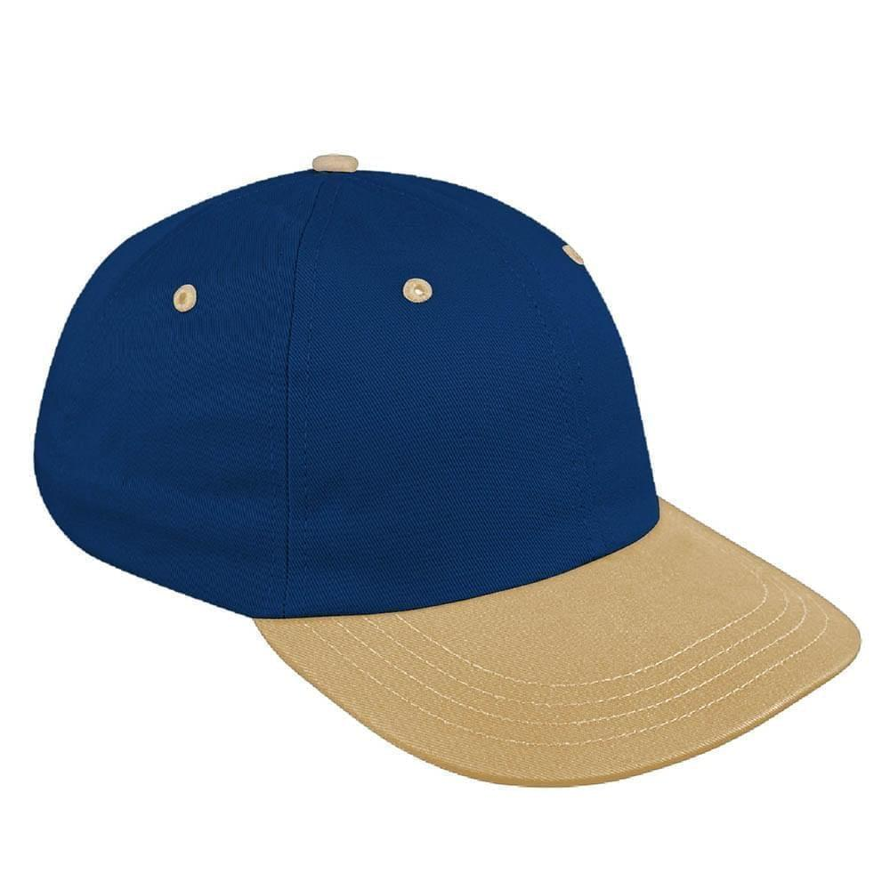Navy-Khaki Canvas Leather Dad Cap