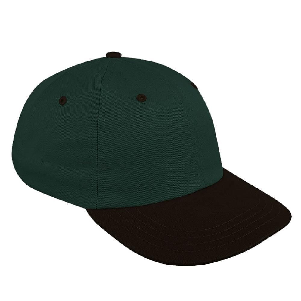 Hunter Green-Black Canvas Leather Dad Cap