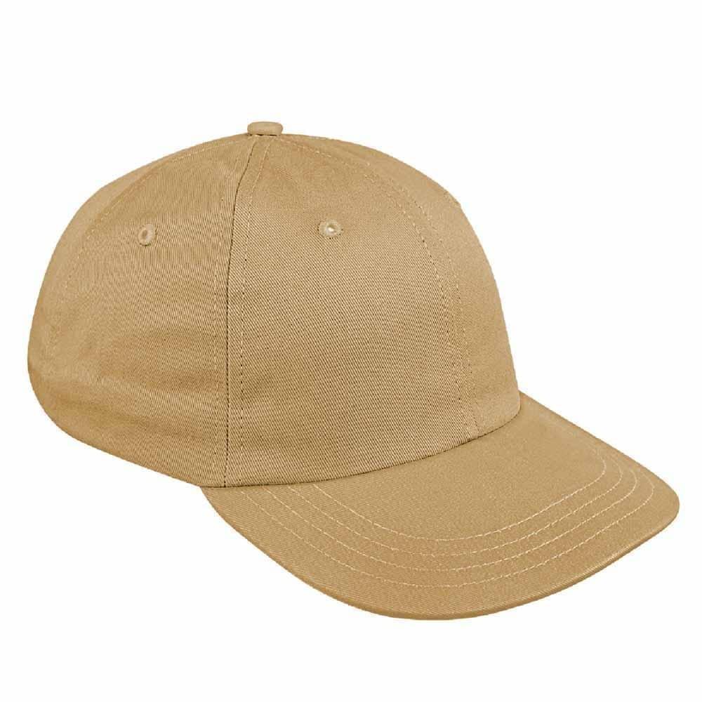 Khaki Canvas Leather Dad Cap