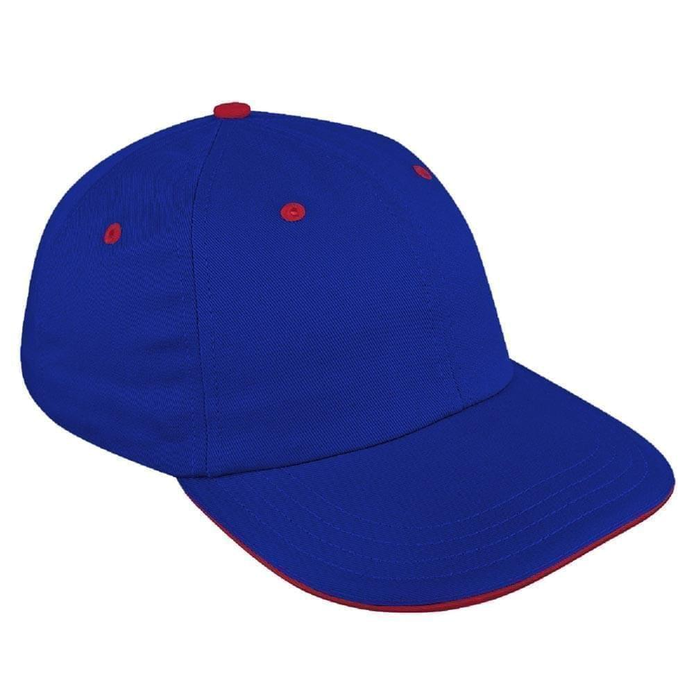 Royal Blue-Red Canvas Leather Dad Cap