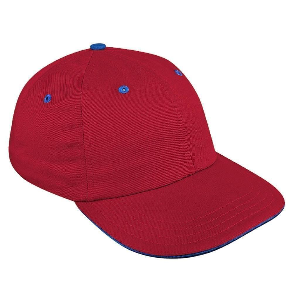 Red-Navy Canvas Self Strap Dad Cap