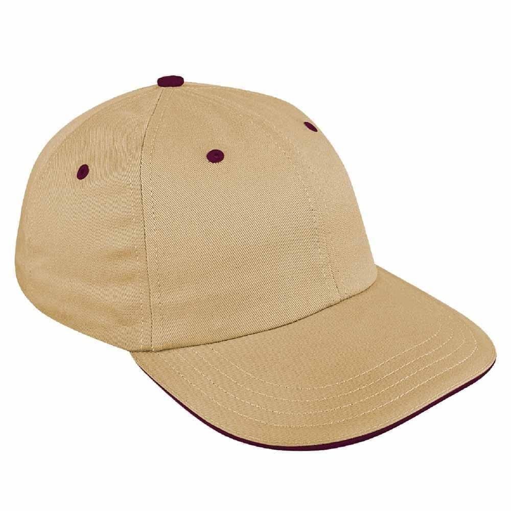 Khaki-Burgundy Canvas Leather Dad Cap