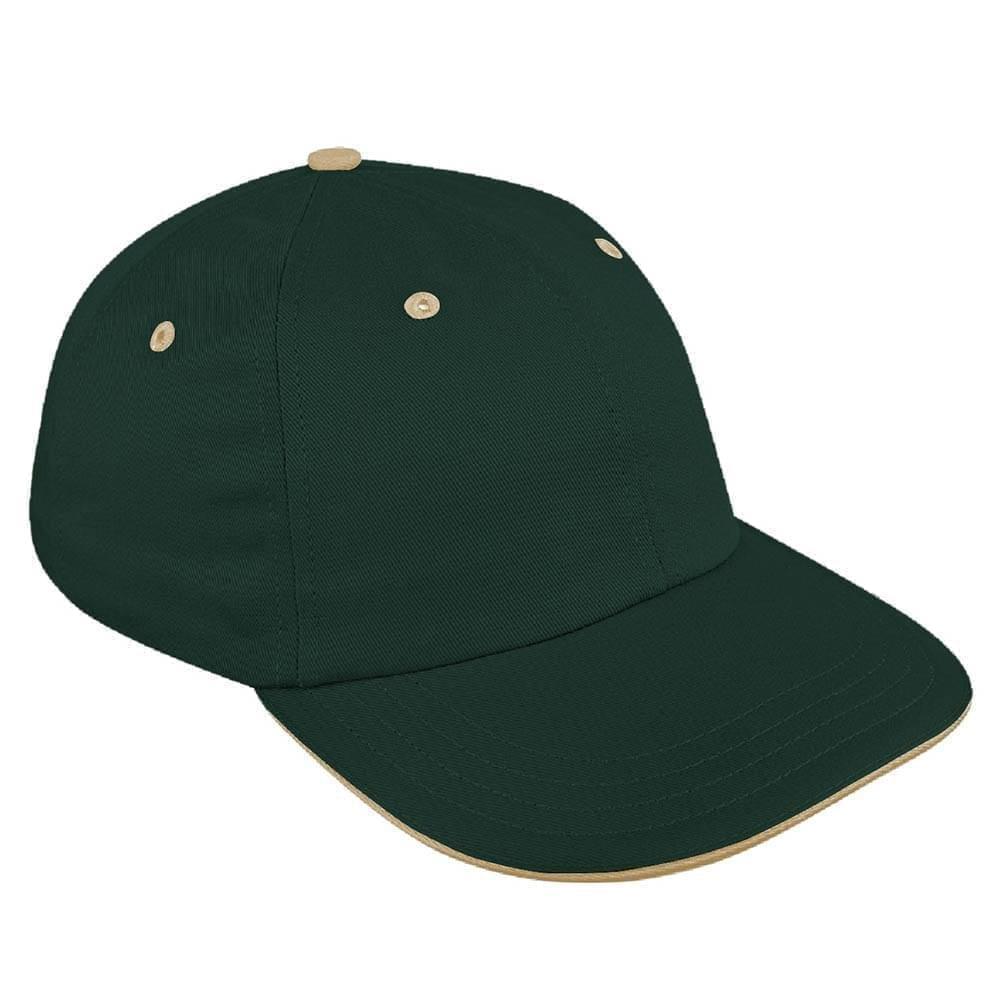 Hunter Green-Khaki Canvas Leather Dad Cap