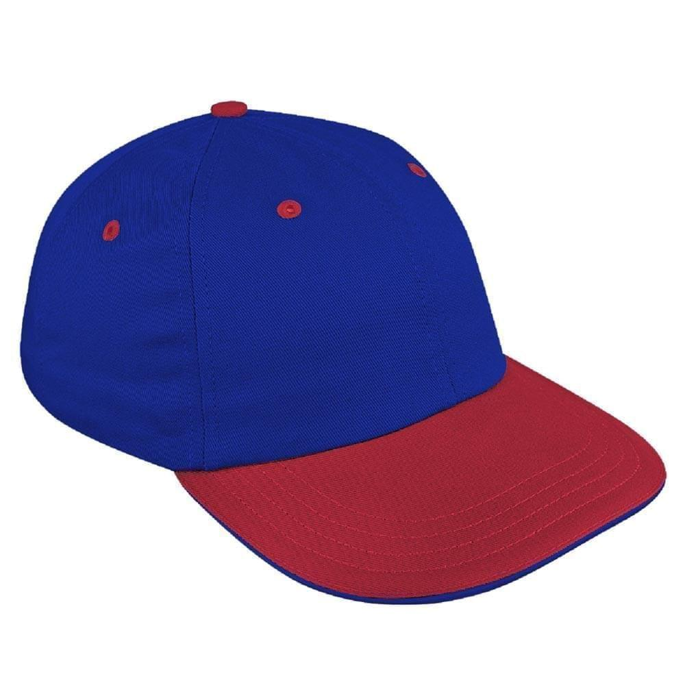 Royal Blue-Red Canvas Self Strap Dad Cap