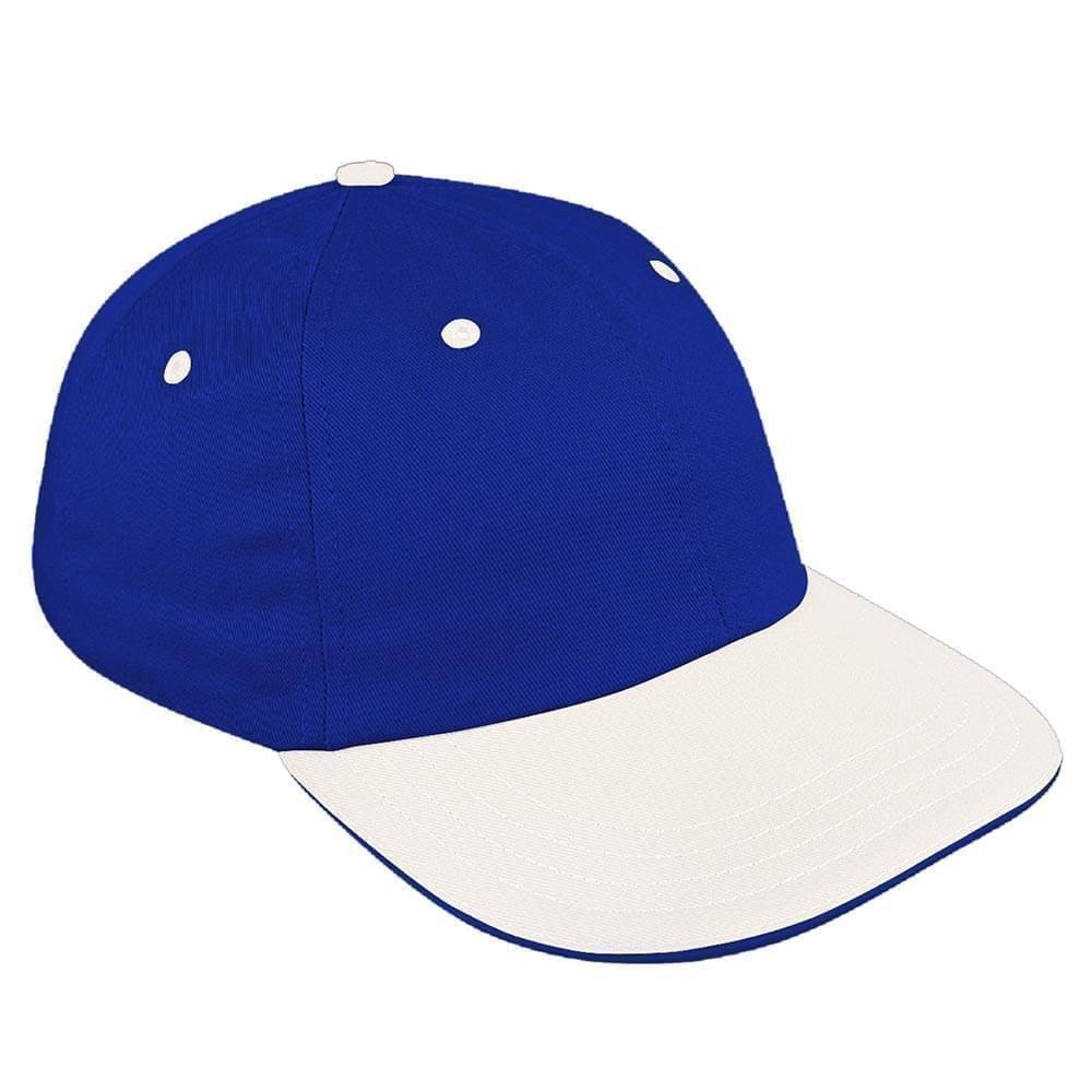 Royal Blue-White Canvas Snapback Dad Cap