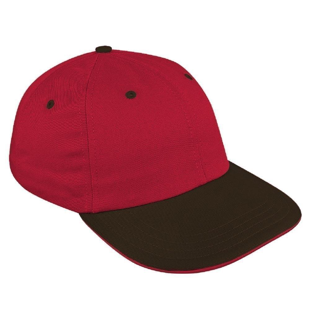 Red-Black Canvas Self Strap Dad Cap