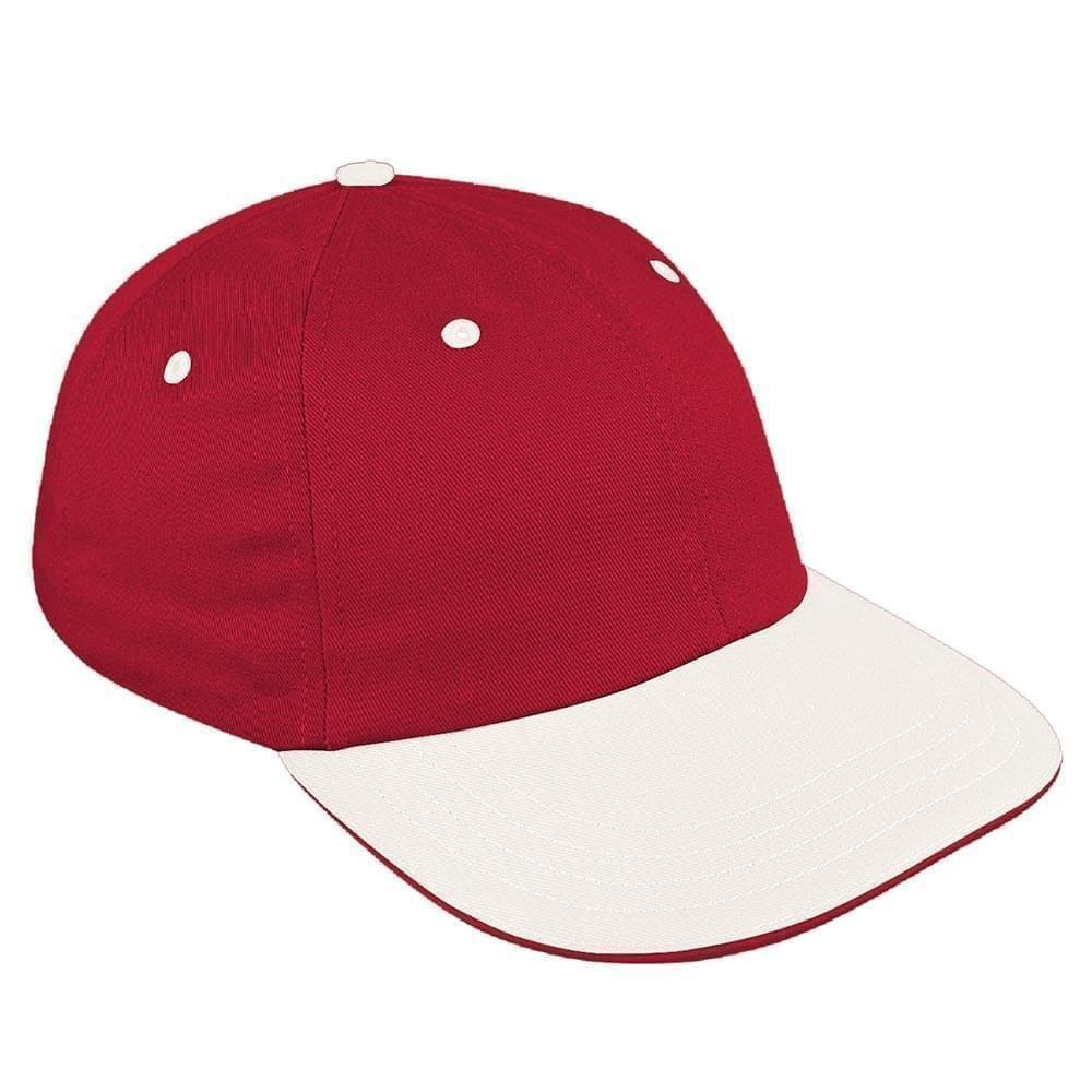 Red-White Canvas Self Strap Dad Cap