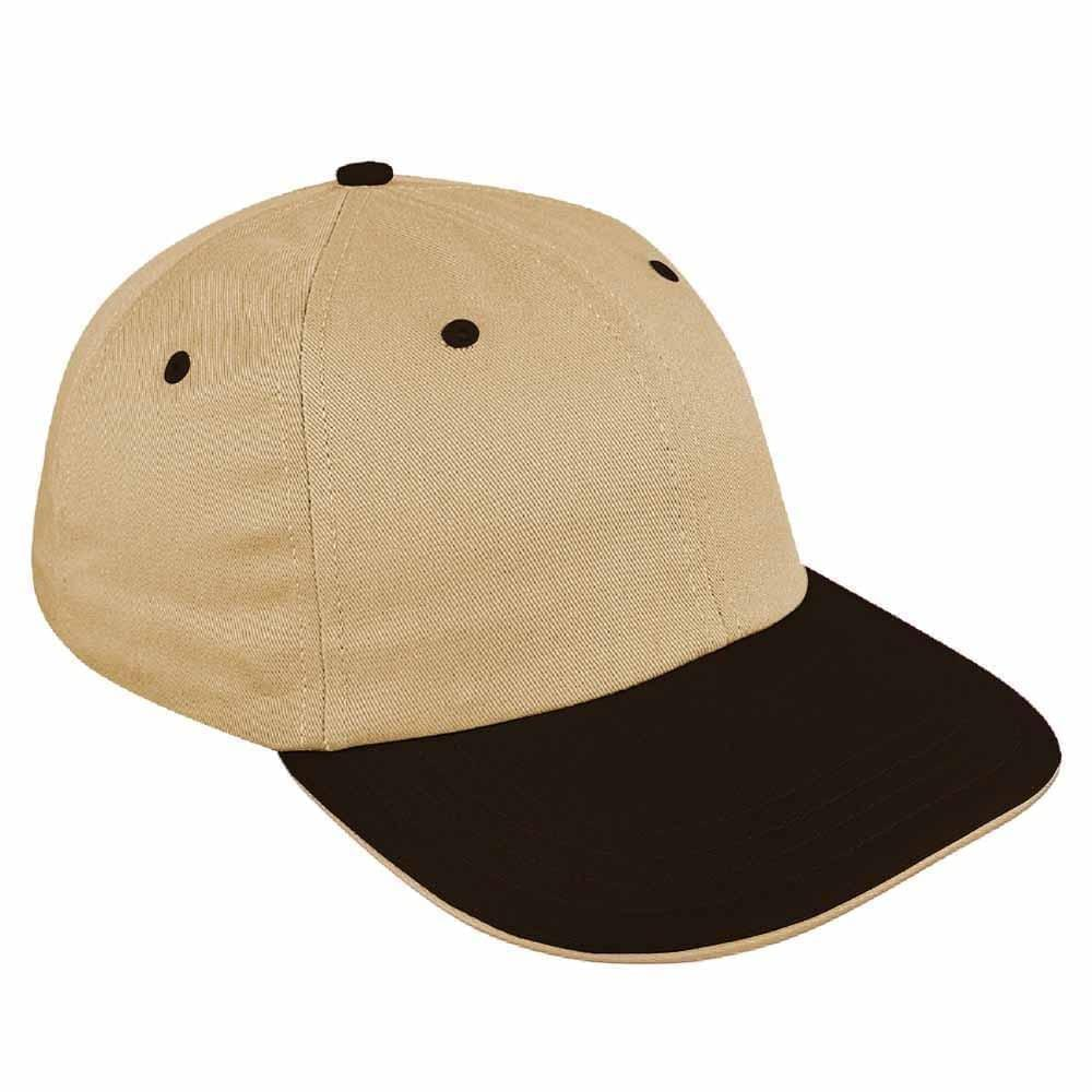 Khaki-Black Canvas Leather Dad Cap