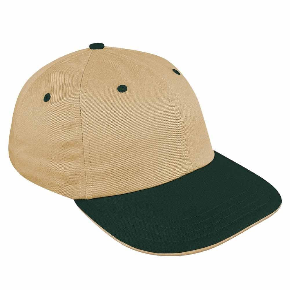 Khaki-Hunter Green Canvas Snapback Dad Cap