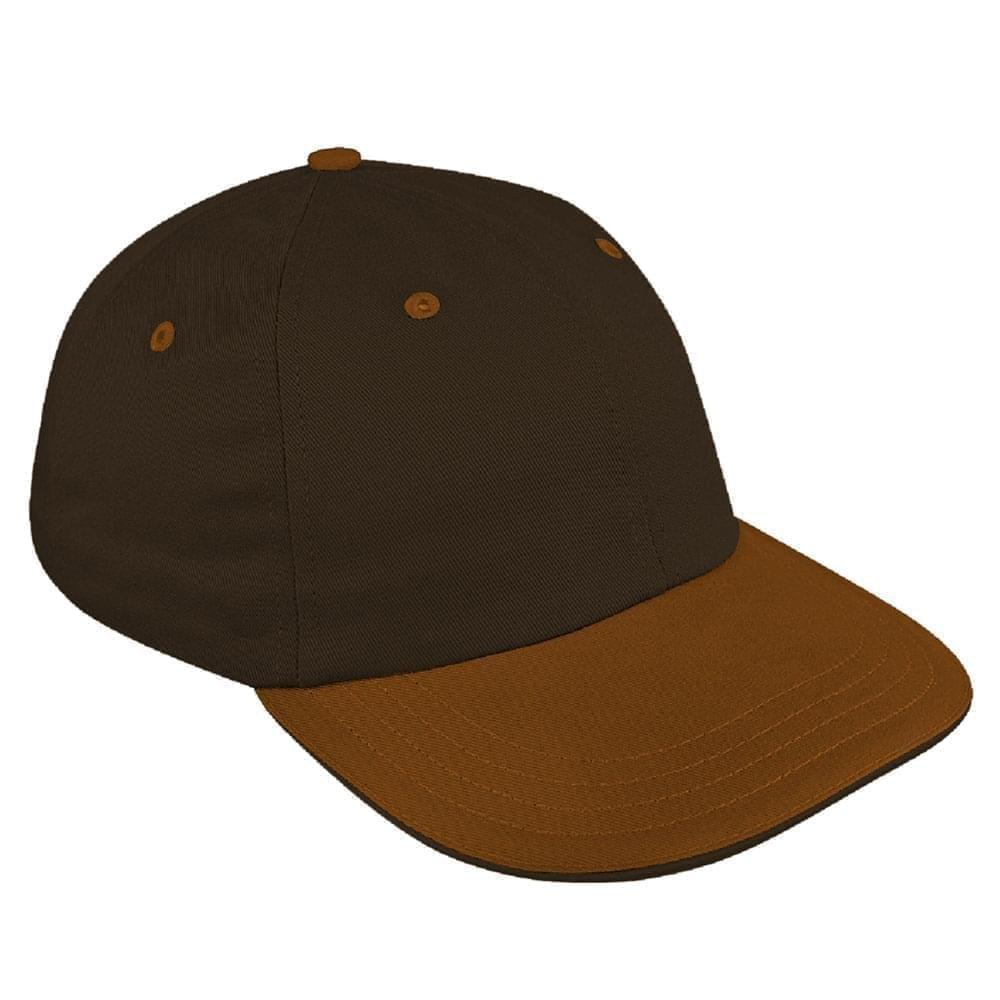 Black-Light Brown Canvas Leather Dad Cap