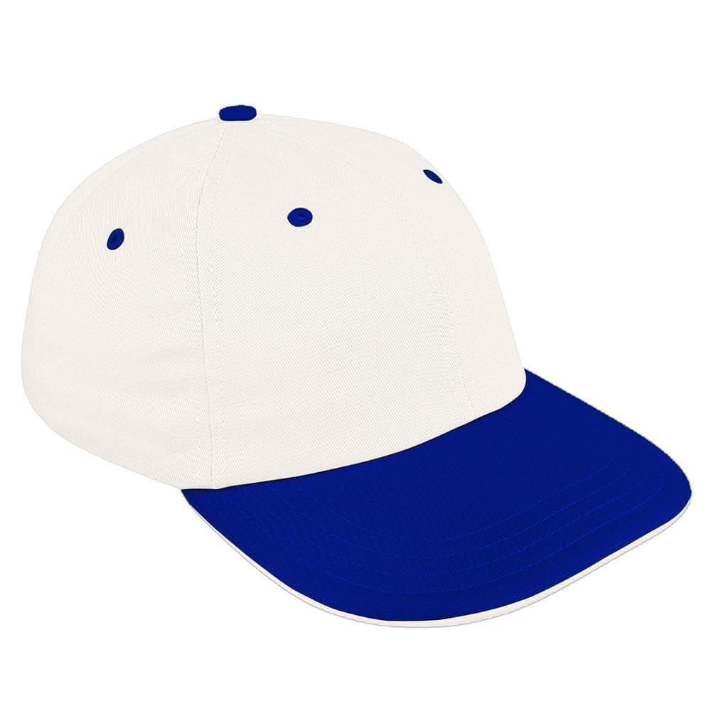 White-Royal Blue Canvas Snapback Dad Cap