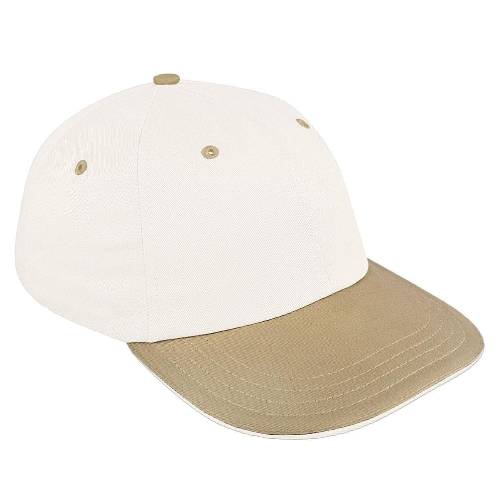White-Khaki Canvas Snapback Dad Cap