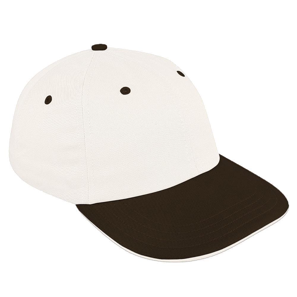 White-Black Canvas Self Strap Dad Cap