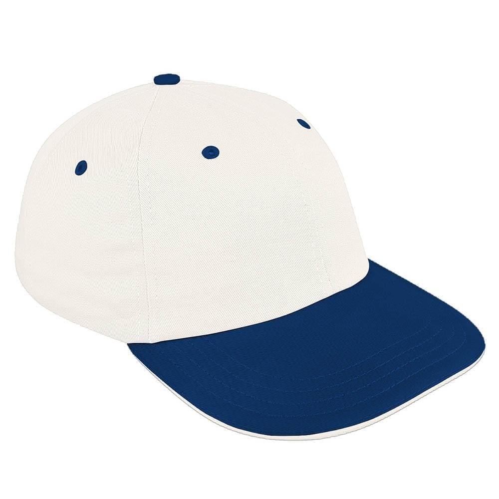 White-Navy Canvas Snapback Dad Cap