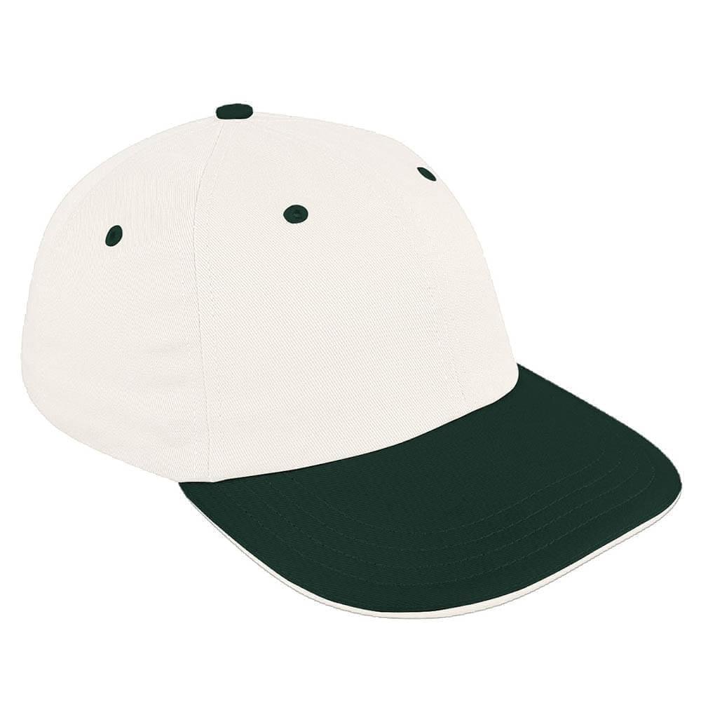 White-Hunter Green Canvas Snapback Dad Cap