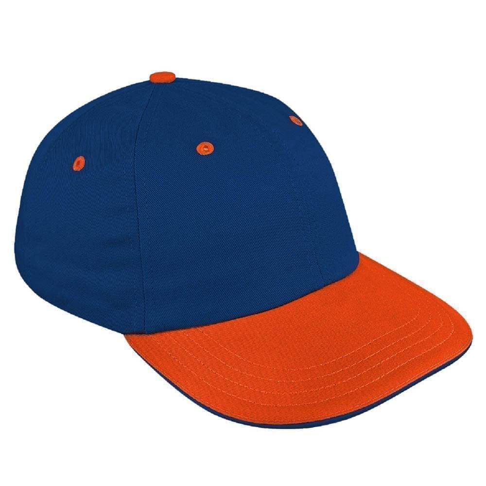 Navy-Orange Canvas Leather Dad Cap