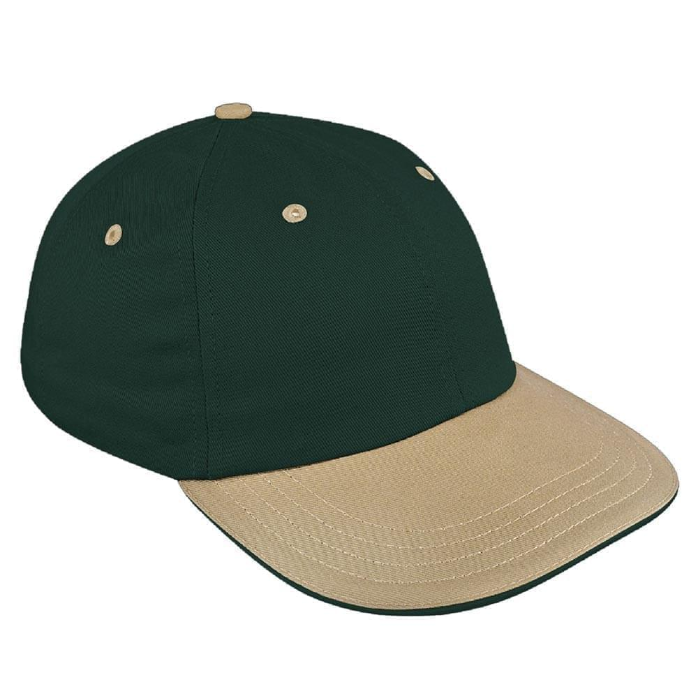 Hunter Green-Khaki Canvas Leather Dad Cap