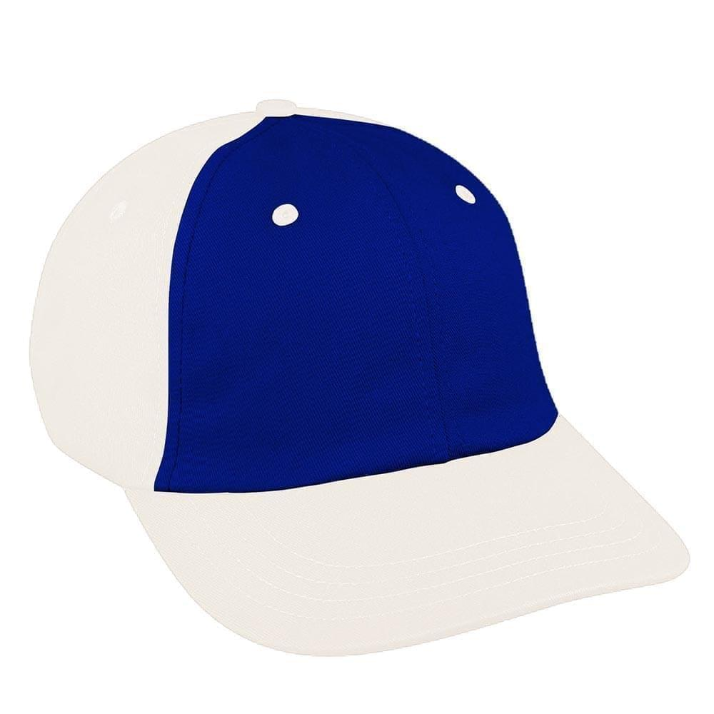 Royal Blue-White Canvas Self Strap Dad Cap