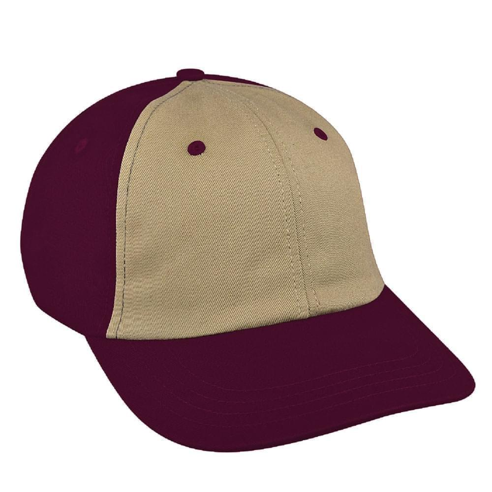 Khaki-Burgundy Canvas Self Strap Dad Cap