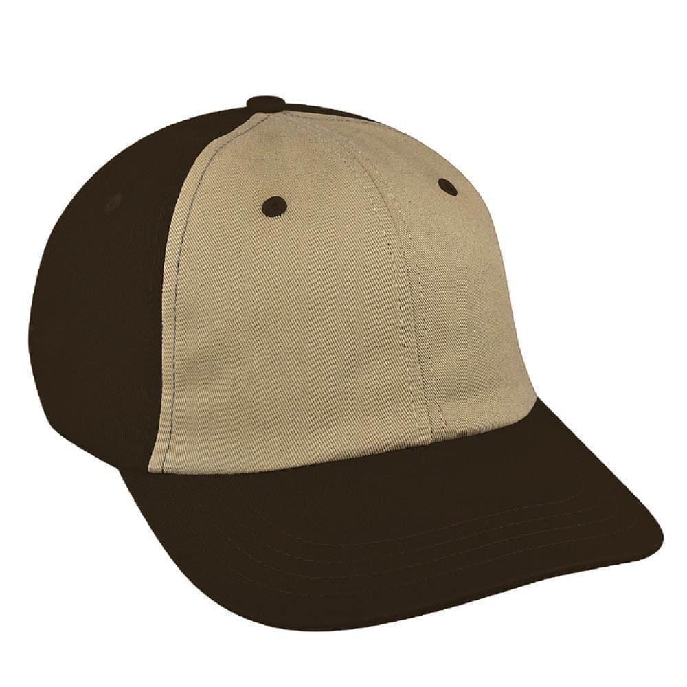 Khaki-Black Canvas Snapback Dad Cap