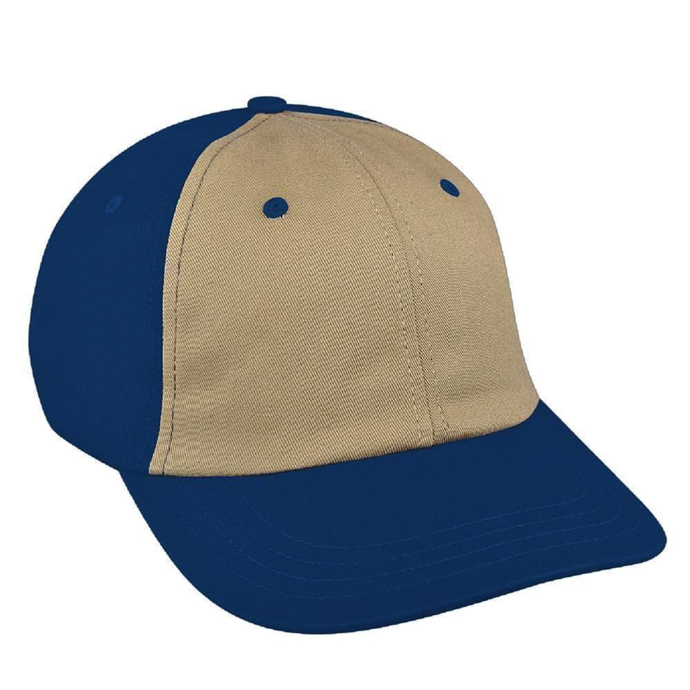 Khaki-Navy Canvas Snapback Dad Cap
