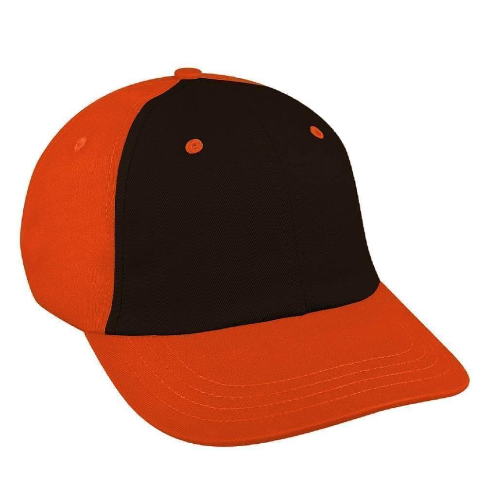 Black-Orange Canvas Leather Dad Cap
