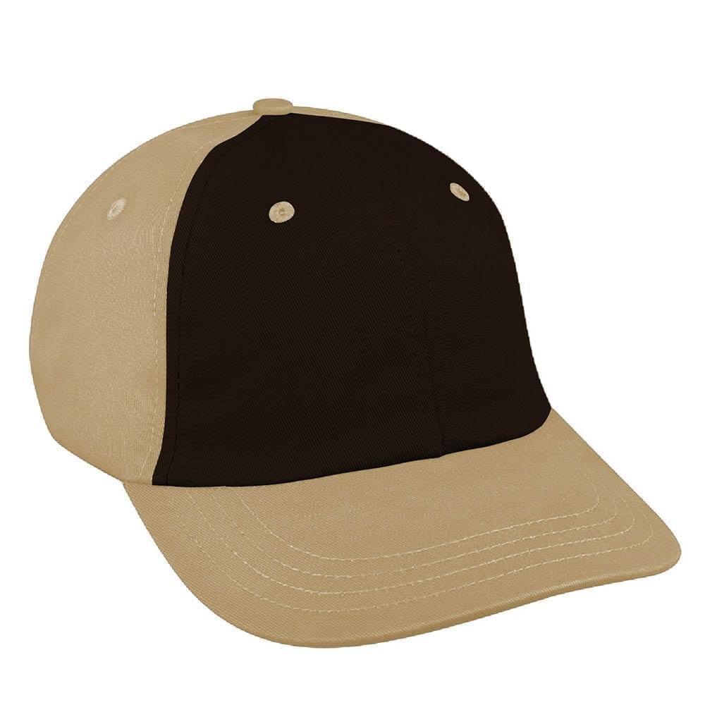 Black-Khaki Canvas Leather Dad Cap