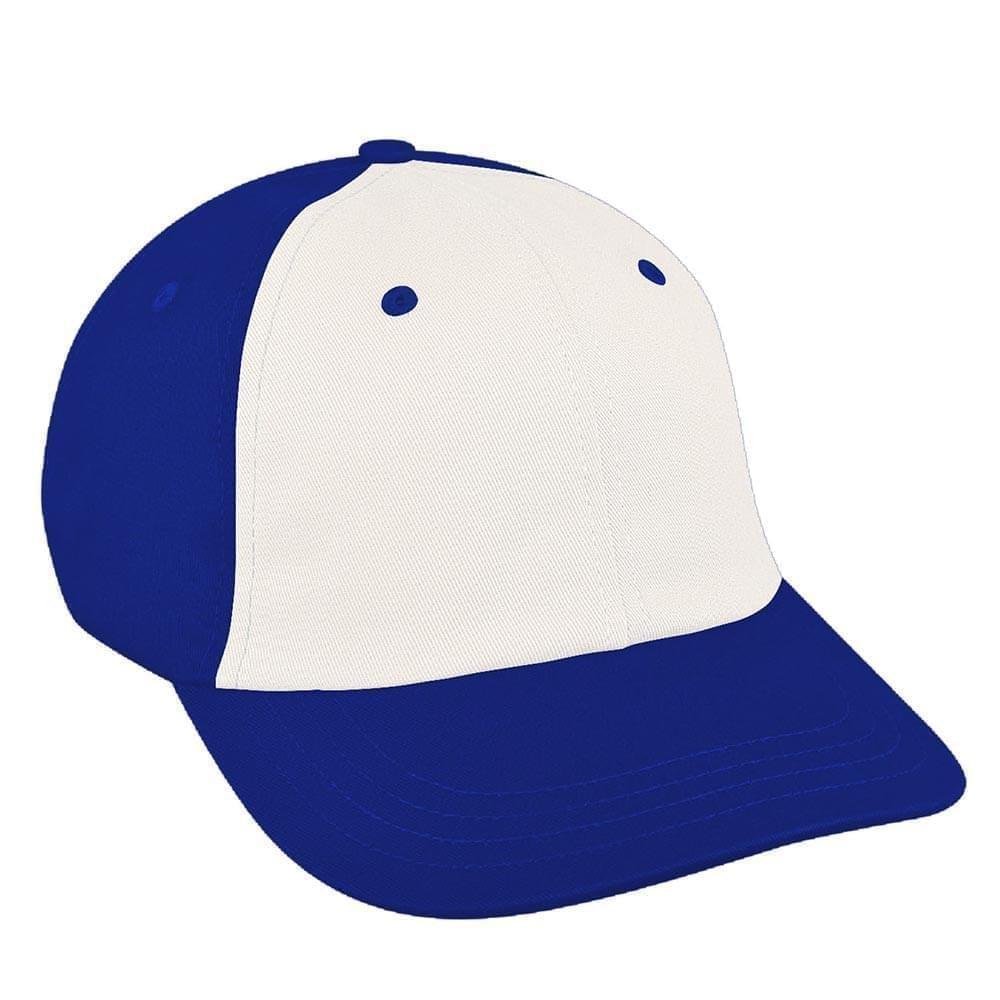 White-Royal Blue Canvas Slide Buckle Dad Cap