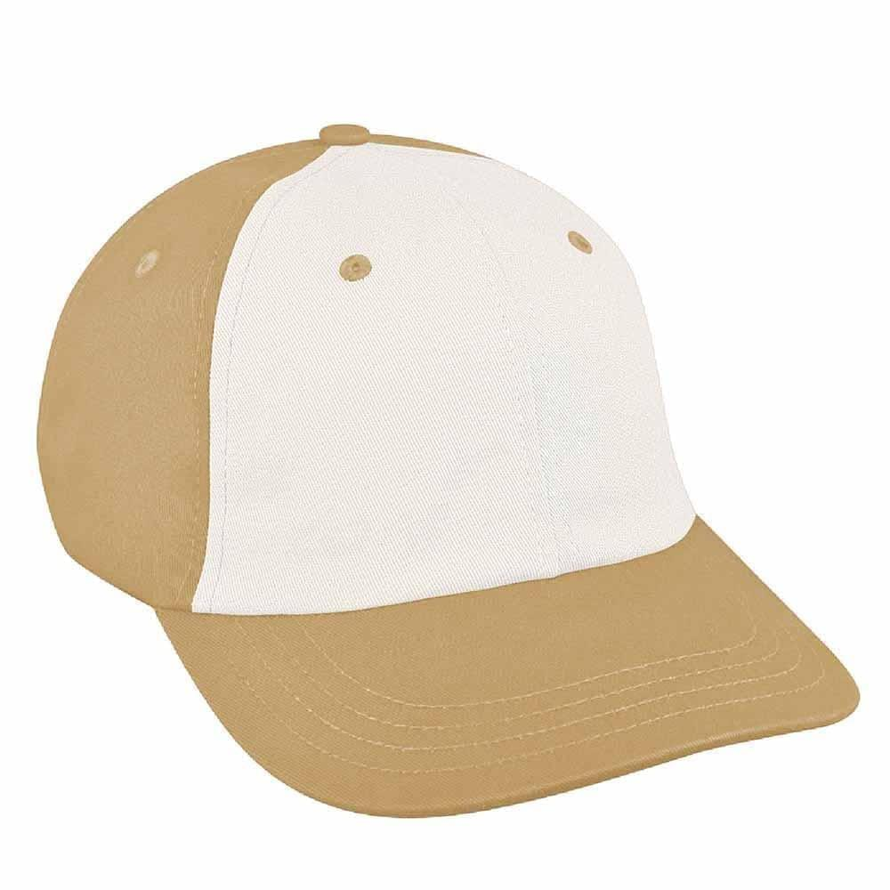 White-Khaki Canvas Leather Dad Cap